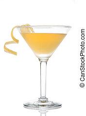 citrom, koktél, sárga, martini, csavar, pohár, banán