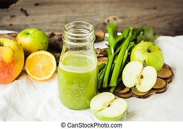 citrom, zeller, lé, friss, kelkáposzta, szerves, zöld alma, detox