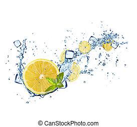 citromfák, szelet, alatt, víz, loccsan, white