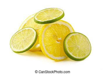 Citron allsorts-lime, lemon, cut on slices and laid out for preparation of cocktails and soft drinks