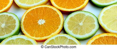 citron andel, apelsin, lime