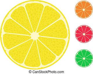 citron, citrus, fruit., pamplemousse, orange, chaux
