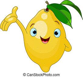 citron, dessin animé, gai, caractère