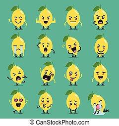 citron, ensemble, caractère, emoji