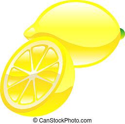 citron, fruit, icône, clipart