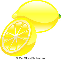 citron, frukt, ikon, clipart