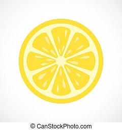 citron, icône, couper, vecteur