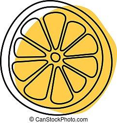 citron, isolé, illustration, main, fond, dessiné