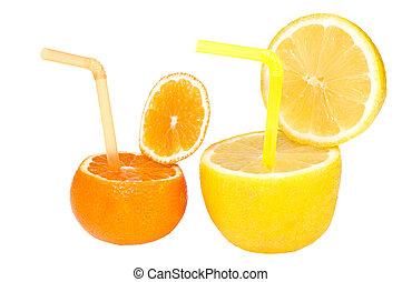 citron, och, mandarin, abstrakt, frukt, drink.