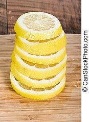 citron, pile, tranches