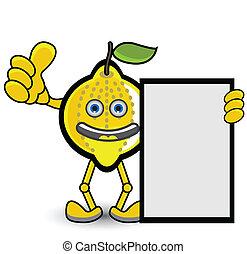 citron, pose, bannière, pouce haut