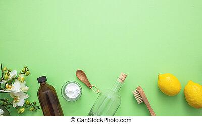 citron, produits, eco, nettoyage, fond, soude, vinaigre