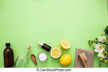 citron, produits, eco, vinaigre, nettoyage, fond, soude