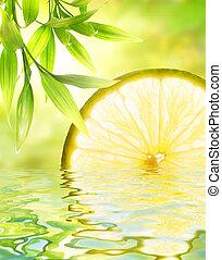 citron, reflété dans, eau