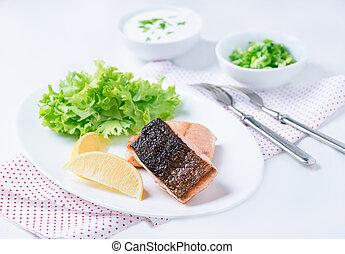 citron, salade, filet poissons, vert, grillé, rouges
