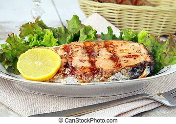 citron, saumon, fish, grillé, rouges