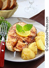 citron, saumon, fish, grillé, rouges