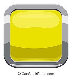 Citron square button icon, cartoon style