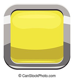 Citron square button icon, cartoon style