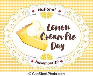 citron, tarte crème, jour, novembre, 29, dentelle, vichy, placer natte