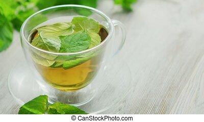 citron, tasse, thé vert, menthe