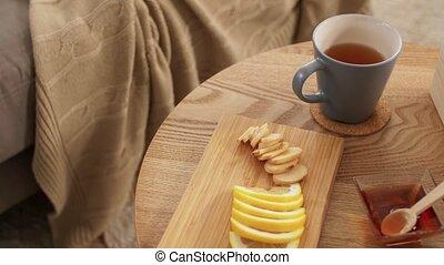 citron, thé, maison, tasse, gingembre, miel