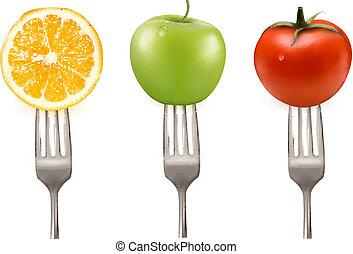 citron, tomat, og, æble, på, gafler