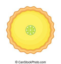 citron, vecteur, isolé, arrière-plan., tarte, illustration, ou, blanc, chaux, fait maison, slice., traditionnel, américain