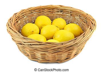 citrons, dans, panier