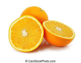 citronträd, apelsin, frukt, isolerat, vita