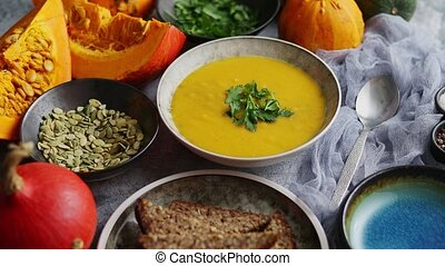 citrouille, décoré, thanksgiving, fond, persil, gris, ...