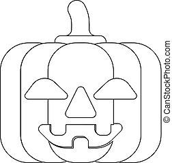 citrouille, dessin animé, mignon, halloween, contour