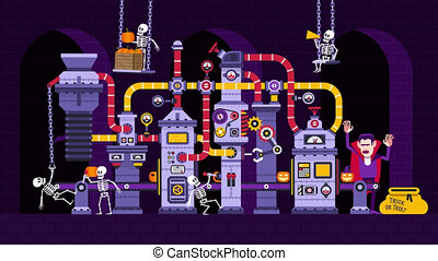 citrouille, dessin animé, usine, halloween