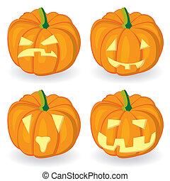 citrouille, ensemble, halloween, icône