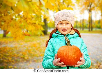 citrouille, girl, parc, roux, automne, heureux