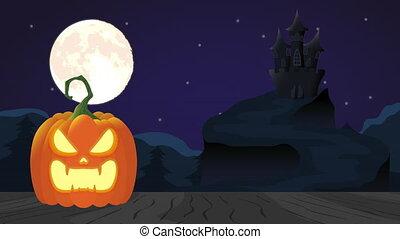 citrouille, grand, terreur, nuit, effrayant, scène, animation, château