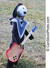 citrouille, guitariste, rochers