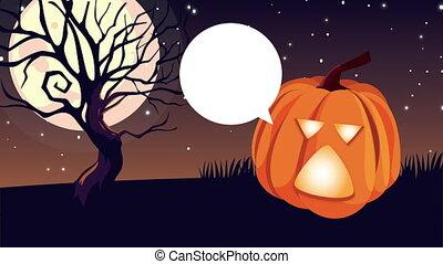 citrouille, heureux, animation, halloween, parler