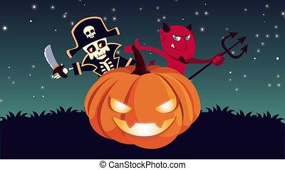 citrouille, heureux, animation, halloween, pirate, crâne, ...