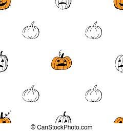 citrouille, mignon, halloween, puttern, arrière-plan., seamless, vecteur