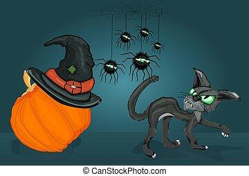 citrouille, noir, araignées, autre., araignées, chaque, hat., chat, chat, sorcière, regard