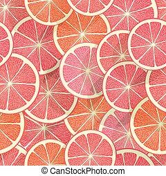 citrus, achtergrond., grapefruit, seamless