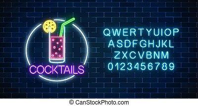 citrus., alphabet., alcohol, cóctel, neón, marco, gas, señal...