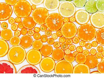 citrus, arrière-plan., fruit