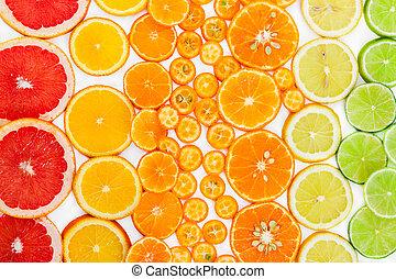 citrus, arrière-plan., sommet, fruit, vue.
