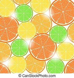 Citrus slices in sunlight (background)