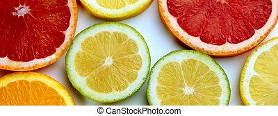 citrus, bannière, tranches