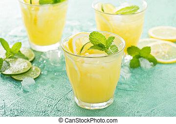 citrus, citron, rafraîchissant, cocktail