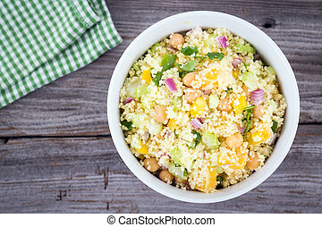 citrus couscous salad with chick peas