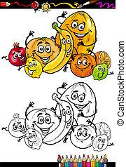citrus, dessin animé, livre coloration, fruits